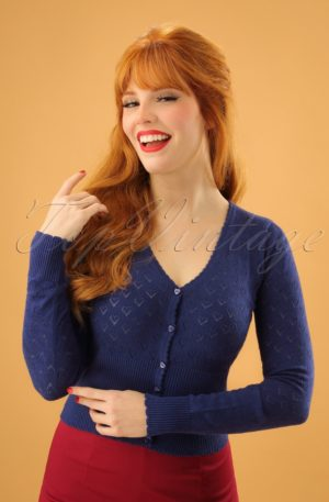40s Heart Ajour Cardigan in Navy