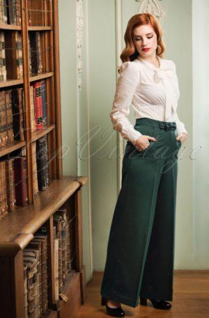40s Hidden Away Trousers in Teal