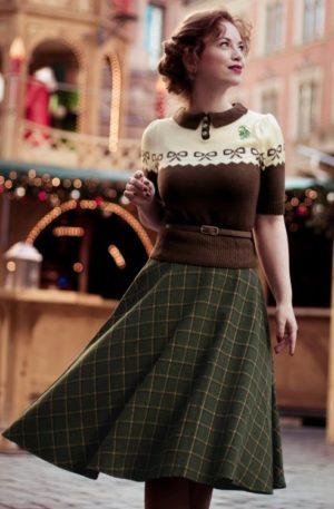 40s Polly Swing Skirt in Green