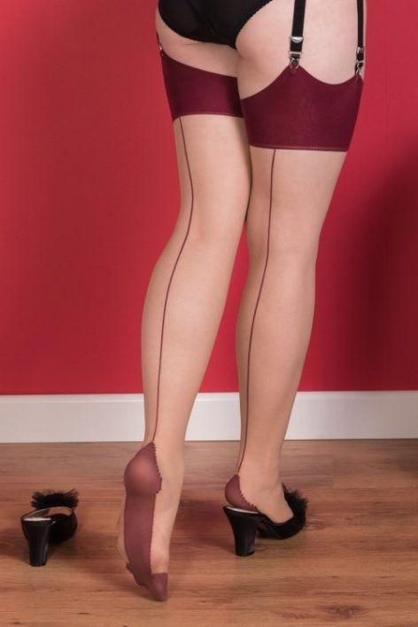 40s Retro Seamed Stockings in Burgundy Glamour