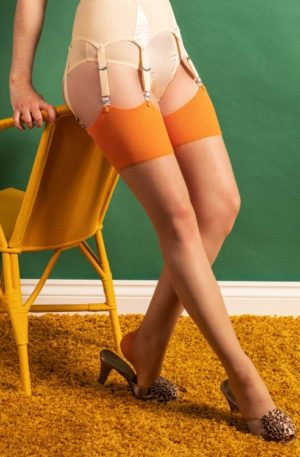 40s Retro Seamed Stockings in Pumpkin Spice