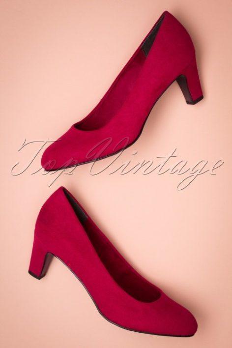 40s Sally Suedine Pumps in Lipstick Red