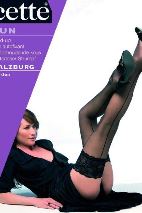 40s Salzburg Naht Black lace hold up Strümpfe