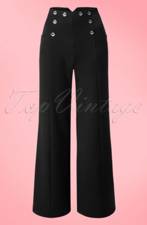 40s Stay Awhile Trousers in Black