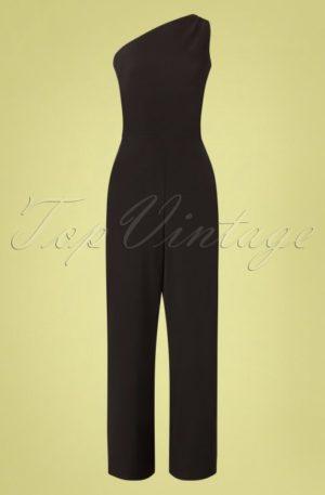 50s Ava One Shoulder Jumpsuit in Black