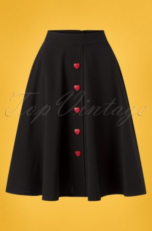 50s Be Still My Heart Thrills Swing Skirt in Black