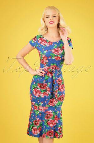 50s Beau Floral Pencil Dress in Blue