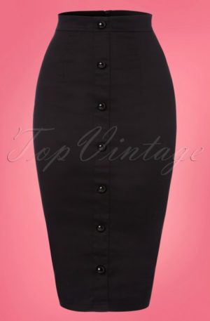 50s Bettina Pencil Skirt in Black
