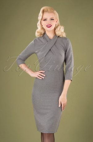 50s Betty Means Business Pencil Dress in Grey Houndstooth