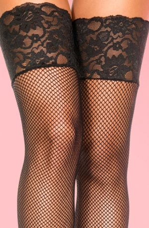 50s Black Lace Fishnet Stockings in Black