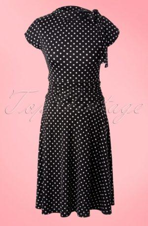 50s Bridget Polkadot Bombshell Dress in Black