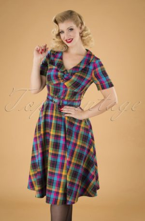 50s Camilla Plaid Swing Dress in Multi