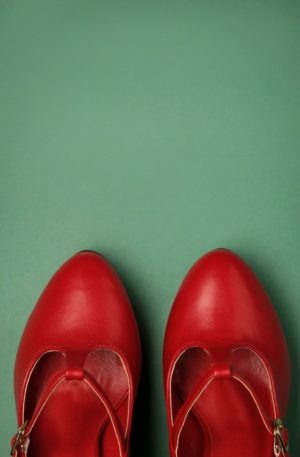 50s Carrie T-Strap Pumps in Red