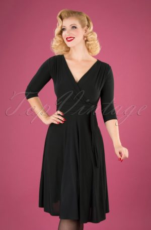 50s Cassandra Midi Dress in Black