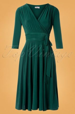 50s Cassandra Midi Dress in Green