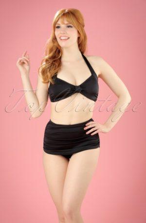 50s Classic Bikini Top in Solid Black