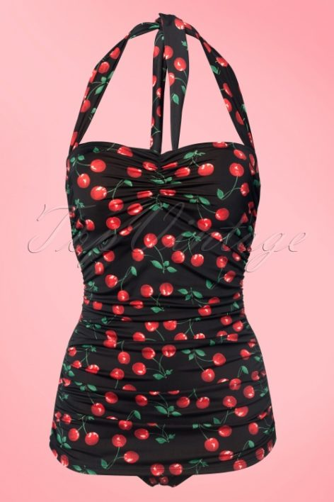 50s Classic Cherry One Piece Swimsuit in Black