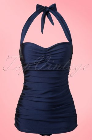 50s Classic Fifties One Piece Swimsuit in Navy