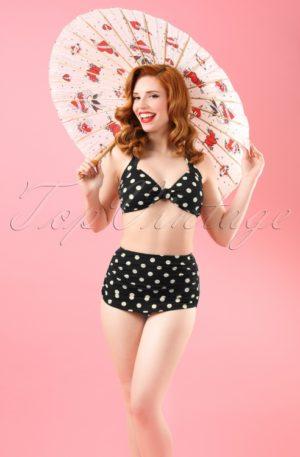 50s Classic Polka Bikini Top in Black and White