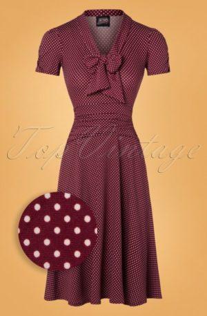 50s Debra Pin Dot Swing Dress in Burgundy