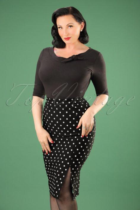 50s Diva Polkadot Pencil Skirt in Black