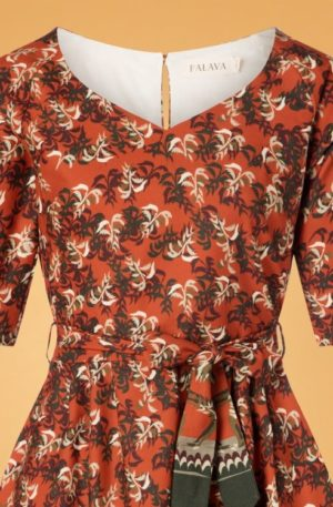 50s Evelyn Cabaret Swing Dress in Rust