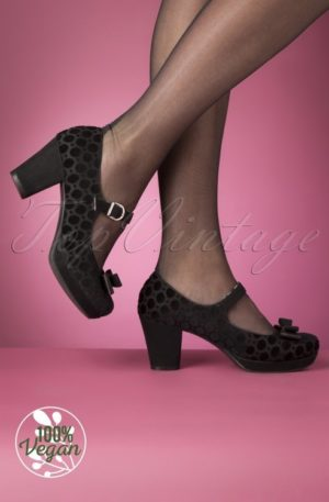 50s Frankie Velvet Pumps in Black