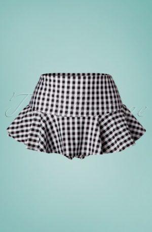 50s Gigi Gingham Bikini Pants in Black and White