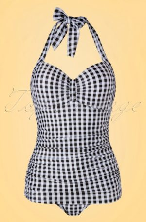 50s Gigi Gingham Swimsuit in Black and White