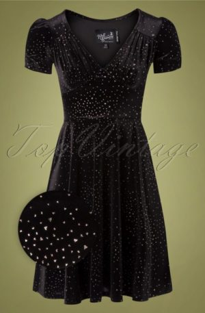 50s Glitterbelle Swing Dress in Black