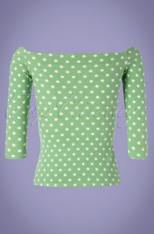 50s Gloria Bardot Polkadot Top in Light Green and White