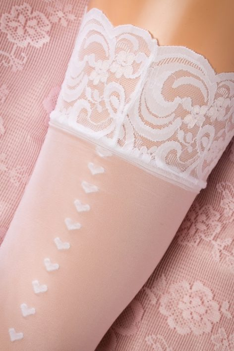 50s Heart Back Seam Stockings in White
