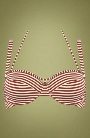 50s Holi Vintage Balcony Bikini Top in Red and Ecru