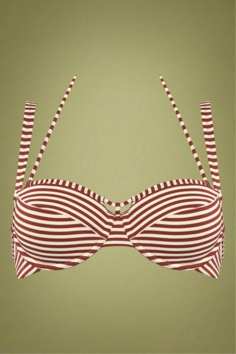 50s Holi Vintage Balcony Bikini Top in Red and Ecru