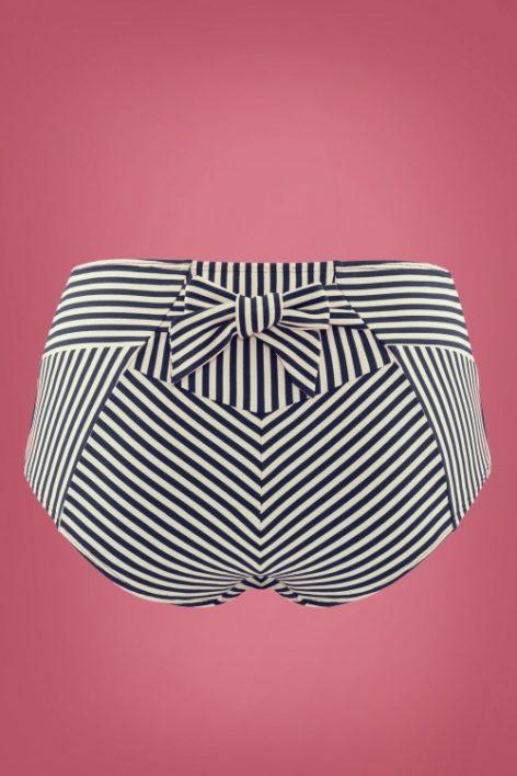 50s Holi Vintage High Waist Bikini Briefs in Blue and Ecru