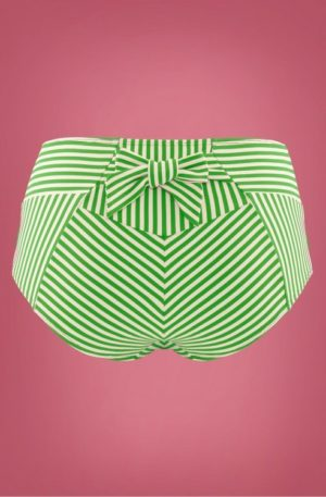 50s Holi Vintage High Waist Bikini Briefs in Green and Ecru