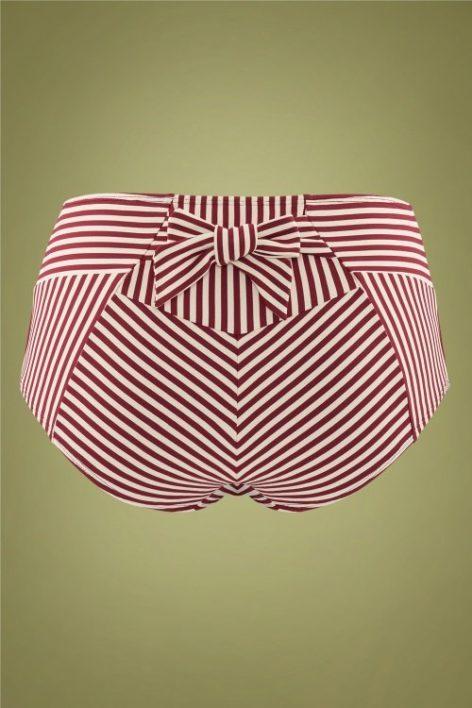 50s Holi Vintage High Waist Bikini Briefs in Red and Ecru