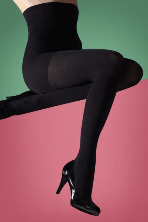 50s Hourglass Shaper Tights in Black