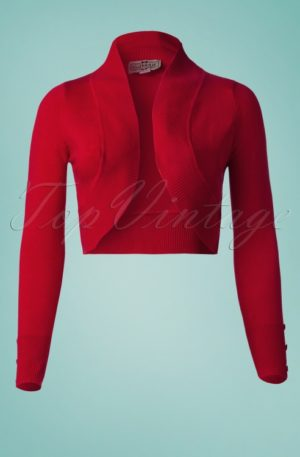 50s Jean Knitted Bolero in Red