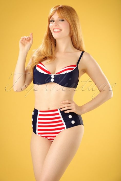 50s Joelle Stripes Bikini Top in Navy and Red