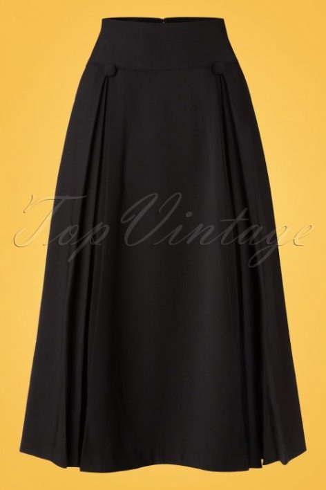 50s Kennedy Swing Skirt in Black