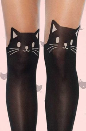 50s Kitty Cat Tights in Black
