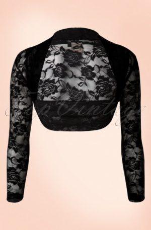 50s Lace Rose Bolero in Black