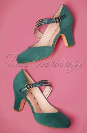 50s Lana Suede High Heel Pumps in Teal