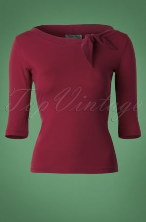 50s Lily Bow Top in Burgundy