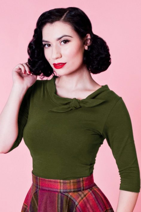 50s Lily Bow Top in Olive