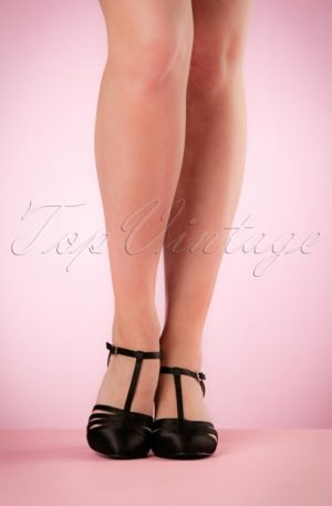 50s Lucille T-Strap Satin Pumps in Black