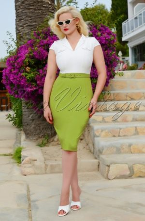 50s Lydia Pencil Dress in White and Green