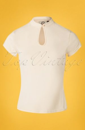 50s Mandarin Collar Top in Cream