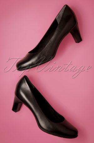 50s Melora Leather Pumps in Black